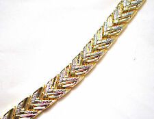 LADIES 8 IN. GOLD & SILVER CHEVRON MAGNETIC THERAPY LINK BRACELET:  For Pain!