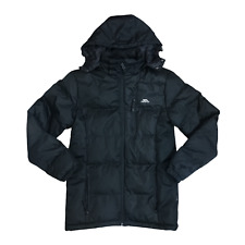 Trespass Mens Black Puffer Jacket Sz XS Hooded Padded Quilted Winter Coat Puffa