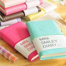 Smiley Mini Diary Leather Notebook Cute Lovely Journal Notepad Lined Plain Paper