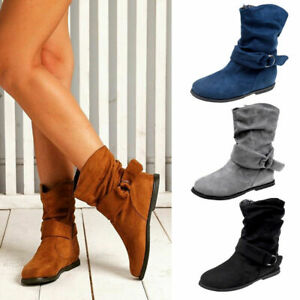 Ladies Womens Suede Wide Ankle Boots Casual Slouch Flat Heel Belt Buckle Shoes