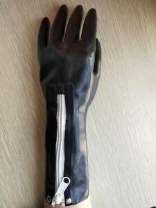 100% Latex Rubber BlackFive fingers Gloves work Mittens Zip S~XXL