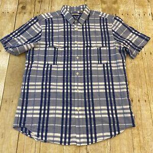 Burberry Brit Plaid Short Sleeve Button Down Shirt Large
