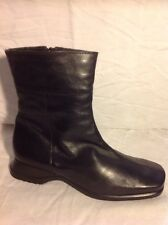 Amber Black Ankle Leather Boots Size 39