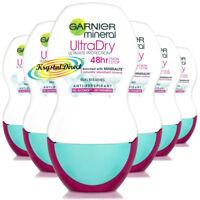 6x Garnier Mineral Ultra Dry Anti Perspirant 48Hr Deodorant Roll On 50ml