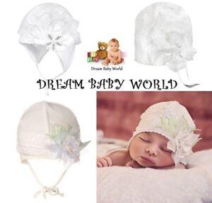 Cotton baby girls TIE UP hat CHRISTENING 12-24 months 2-3 Year KIDS toddler CAP