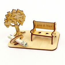 Geschenk zum Geburtstag eigene Gravur Geldgeschenk Baum Holzbank Geschenkidee