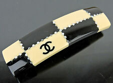 AUTHENTIC CHANEL CC BEIGE x BLACK BARRETTE HAIR CLIP  MADE IN FRANCE 2002