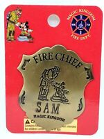 Disney Magic Kingdom Fireman & Mickey Mouse Fire Chief Badge /Pin For SAM