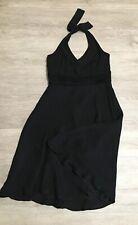 Ann Taylor 100% Silk Black Halter Dress Size 6P