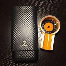 Cohiba  Carbon Fiber Ceder Wood Cigar Case & Yellow Titanium Cigar Ashtray