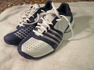 Mens Adidas Barricade 6.0 Tennis Shoes White, blue and lines purple Size 9