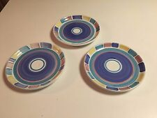 CALECA COLOR BLOCKS-PATTERN #310 -MADE IN ITALY- SALAD OR PASTA PLATES.- 3 TOTAL