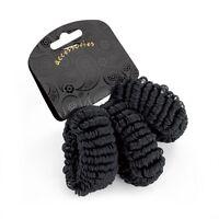 Set of 3 Black Soft Looped Hair Donuts Ponios Bobbles Elastics Hair Bands