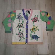 Storybook Knits  Cardigan Sweater sz L turtles white green  sequins pink k