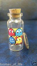 Vintage MINIATURE Glass Cork BOTTLE VIAL Advertising Pac Man Ghosts Arcade Games