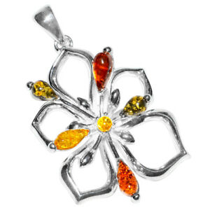 7.8g Authentic Baltic Amber 925 Sterling Silver Pendant Jewelry N-A309