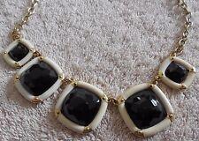 Negro Color Dorado Piedras Cuadrados Collar sin Usar Mujer Joyería Cuello