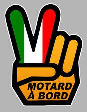 MOTARD A BORD MAIN VICTORY HAND ITALY 120x90mm AUTOCOLLANT/STICKER-MOTO(MA165)