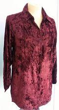 Velvet Collared Shirt Brown Shimmering top long Size 10 12 14 16 Boho Hippy GSV2