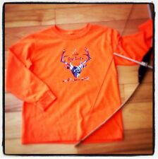 Boys Long Sleeve Shirt 14/16 I Like Big Bucks Deer Hunter's Orange Fall Handmade
