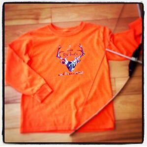 Boys Long Sleeve Shirt 8 I Like Big Bucks Deer Hunter's Orange Fall Handmade