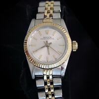 Lady Rolex 18k Gold/Stainless Steel Oyster Perpetual Watch Jubilee Silver 67193