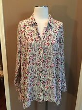 FREE PEOPLE 6 M/L FLORAL BLOUSE TOP LONG SLEEVE LOOSE TRAPEZE SOFT VERY NICE!
