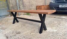 Reclaimed Oak ,Furniture Dining/Kitchen/Hall Large Bench Metak Cross Shaped Legs