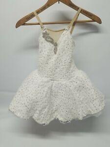 White Princess Jeweled & Sequence Fluffy Ballerina Dress  Dance Costume Kids MC