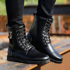 Mens Lace up High top Round toe Casual Ankle Boots Punk Military Combat Shoes @