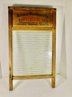 Antique Atlantic National Washboard #511 Wood and Glass