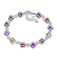 Women Jewelry Bangle Chain 925 Silver Plated Crystal Beads Cuff Charm Bracelet