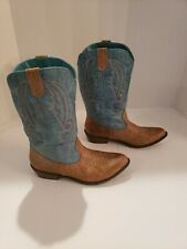 Women's Coconuts Gaucho Tan Turquoise Size 6 M Boots Cowboy Western
