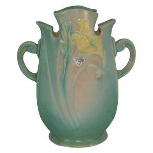 Vintage Roseville Pottery Poppy 1938 Green Art Deco Pillow Vase 870-8
