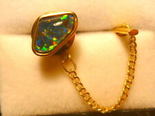 14ct Yellow Gold Mens Tie Tack Free Form Triplet Opal item 120474