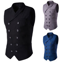 Men's Formal Dress Suit Vest Slim Fit Casual Sleeveless Tuxedo Waistcoat Jacket