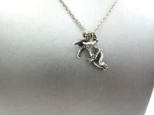 3D Angel Cherub pendant Vintage Antique Sterling Silver Necklace 24""
