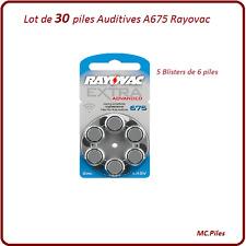 Lot de piles boutons auditives Rayovac, appareils auditifs A675, de 1 à 60 piles