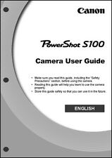 Canon Powershot S100 Digital Camera User Guide Instruction Manual
