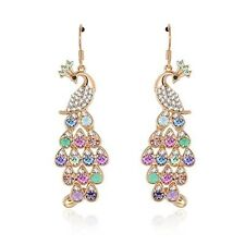 Crystal Peacock Dangle Gold Plated Chandelier Earrings Fashion Jewelry