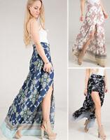 S M L Summer Long Maxi Skirt Boho Print High Waist Wrap Side Slit Boho Casual
