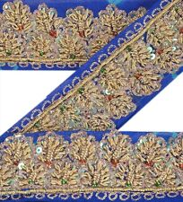 Antique Vintage Saree Border Hand Beaded Craft Decor Trims 1 Yd Ribbon Blue Lace