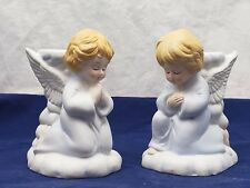 """Pair 4.5"""" Bisque Praying Children Angel Taper Candle Holders Holiday's Festive"""