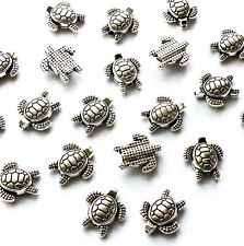 20 Silver tone Metal Sea Turtle Tortoise Spacer Beads Charm 13mm Jewellery Craft