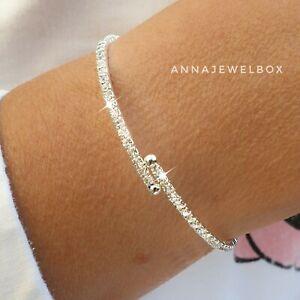 Silver CZ Cubic Zirconia Diamante Tennis Bracelet Flexible Bangle Bridal Gift UK