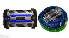 VOODOO Car Audio 10 FARAD Digital POWER Capacitor + 4 AWG Amp kit Green / black
