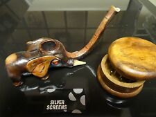 Small Elephant Ceramic Tobacco Pipe. + Grinder  < contains no glass  PM 1542 + G