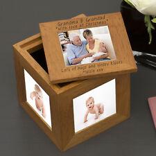 Personalised Christmas Wooden Cube Photo Box Keepsake Cube Box Love at Xmas