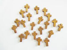 Wholesale Lot of 100 Small Light Brown Wood Crucifixes, 7/8 Inch