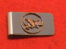Hand cut Louisiana state quarter 24 kt gold plated mounted as a money clip